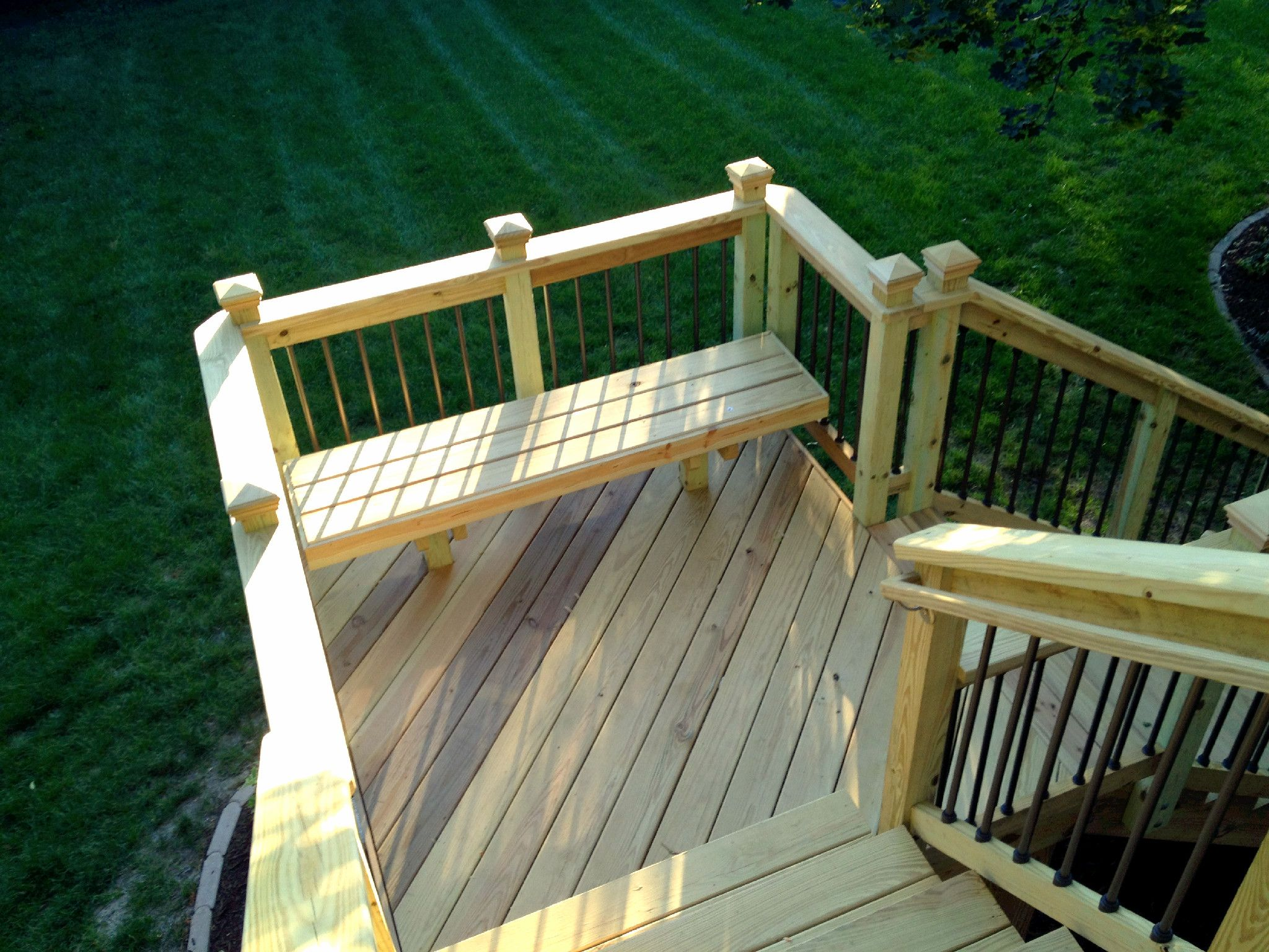 Nice Deck Stair Landing Incorporates A Matching Bench For A Nice Finishing Touch  To The Staircase Design