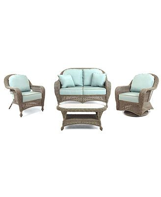 Sandy Cove Outdoor Patio Furniture 4 Piece Seating Set 1
