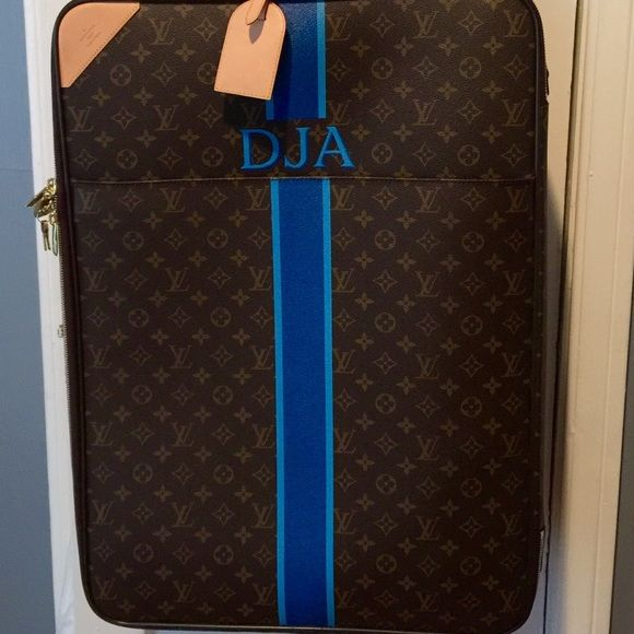 Louis Vuitton Pegase 65 with personalization c Authentic LV w  custom  stripes and DJA initials on bag and tag Larger wheeled luggage piece Comes  with ... c59de53c377a2