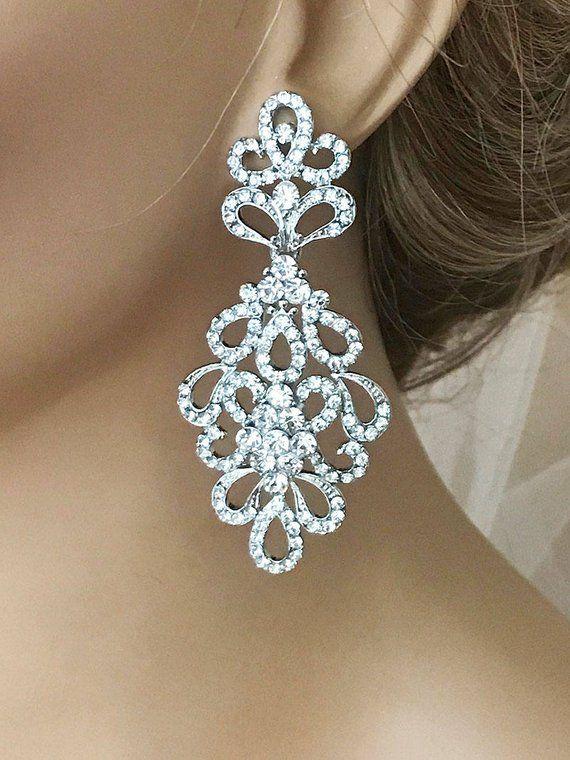 Bridal Chandelier Earrings, Bridesmaid Jewelry, Bridesmaid Chandelier Earrings, CZ Bridal Earrings, Victorian Drop Earrings, Prom Earrings