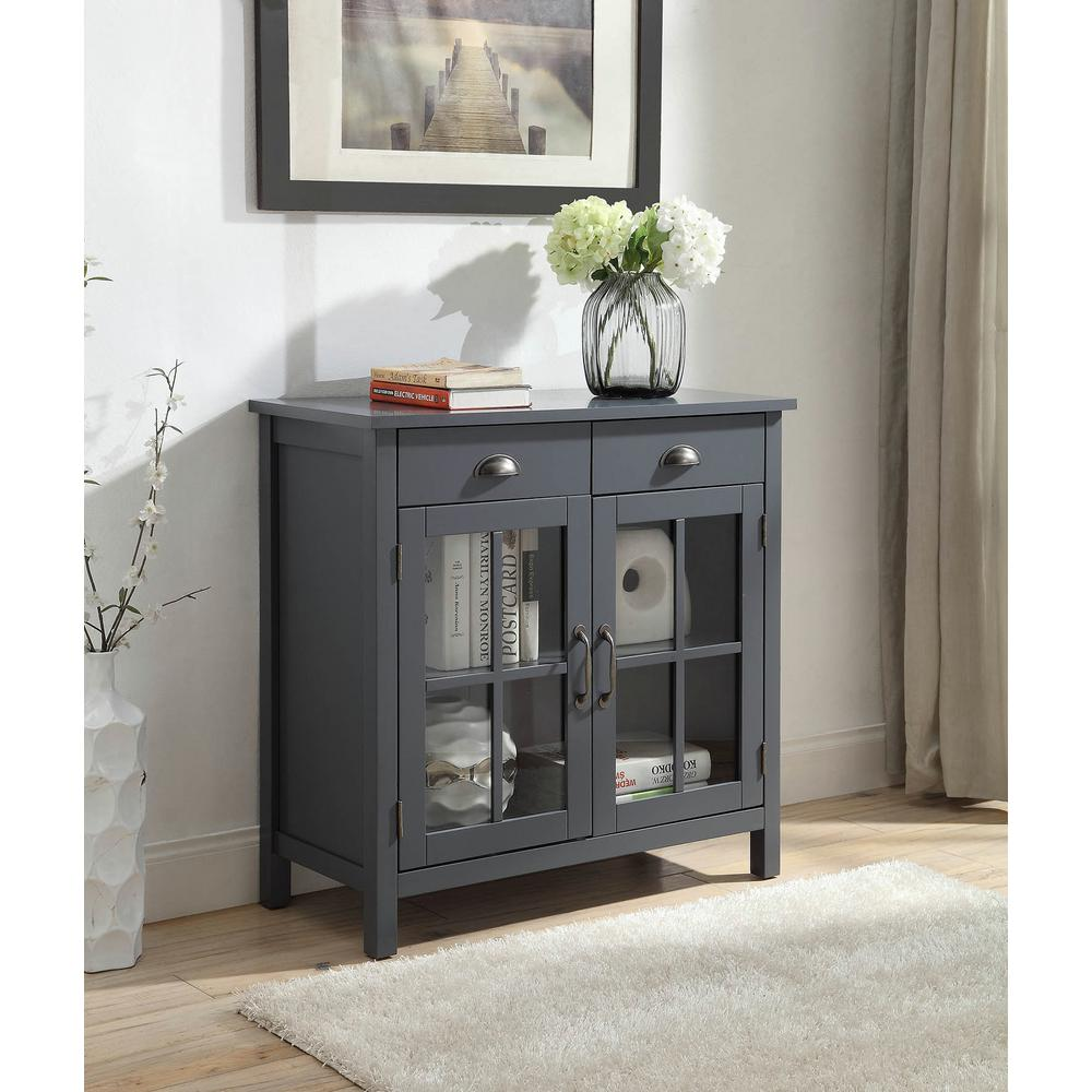 Olivia 2 Drawers Grey Accent Cabinet With 2 Glass Doors Sk19087d2