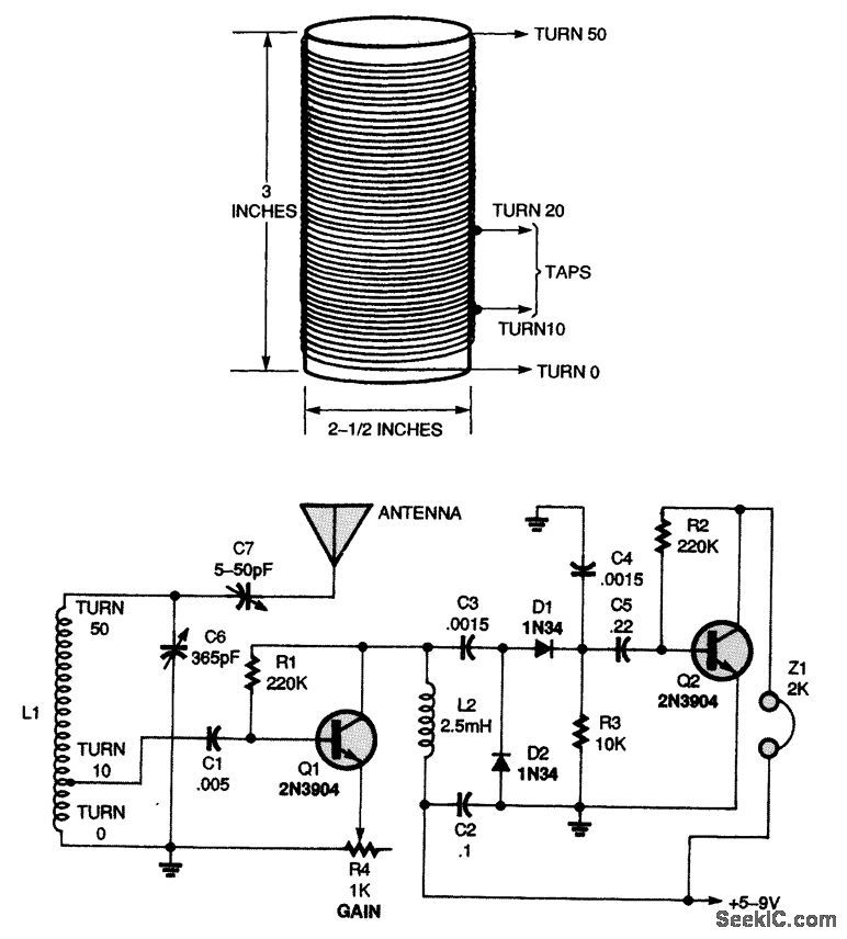 two-transistor trf radio receiver with audio amplifier - circuit diagram
