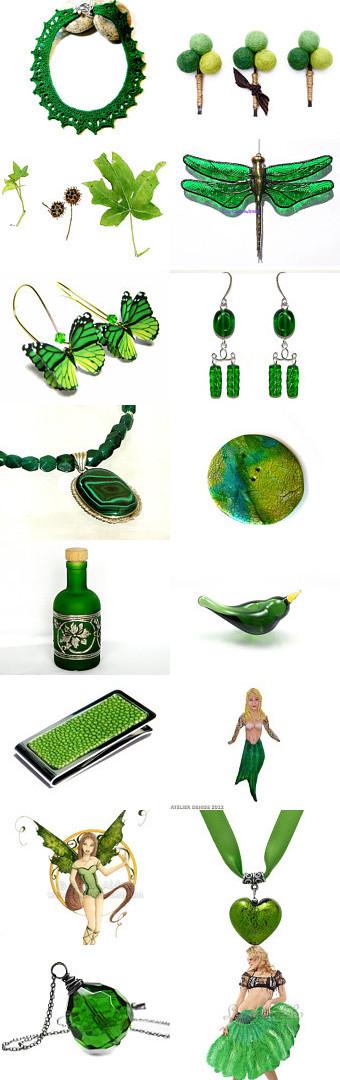 Emerald Treasury by Grazim on Etsy- Features KnittingGuru's Emerald Crochet Necklace (upper left).