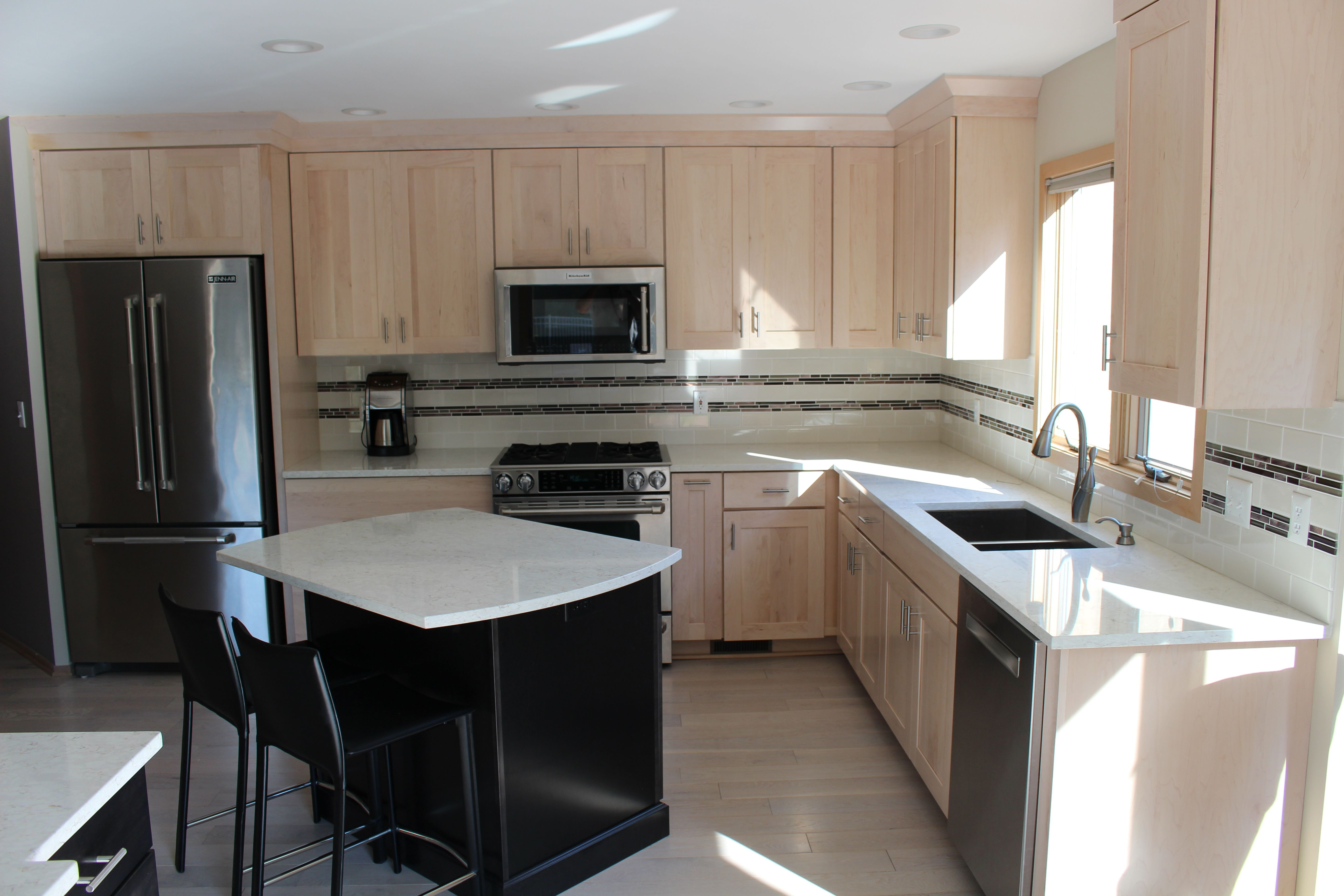 Spectacular kitchen remodel. Maple cabinets with quartz ... on Maple Kitchen Cabinets With Quartz Countertops  id=24954