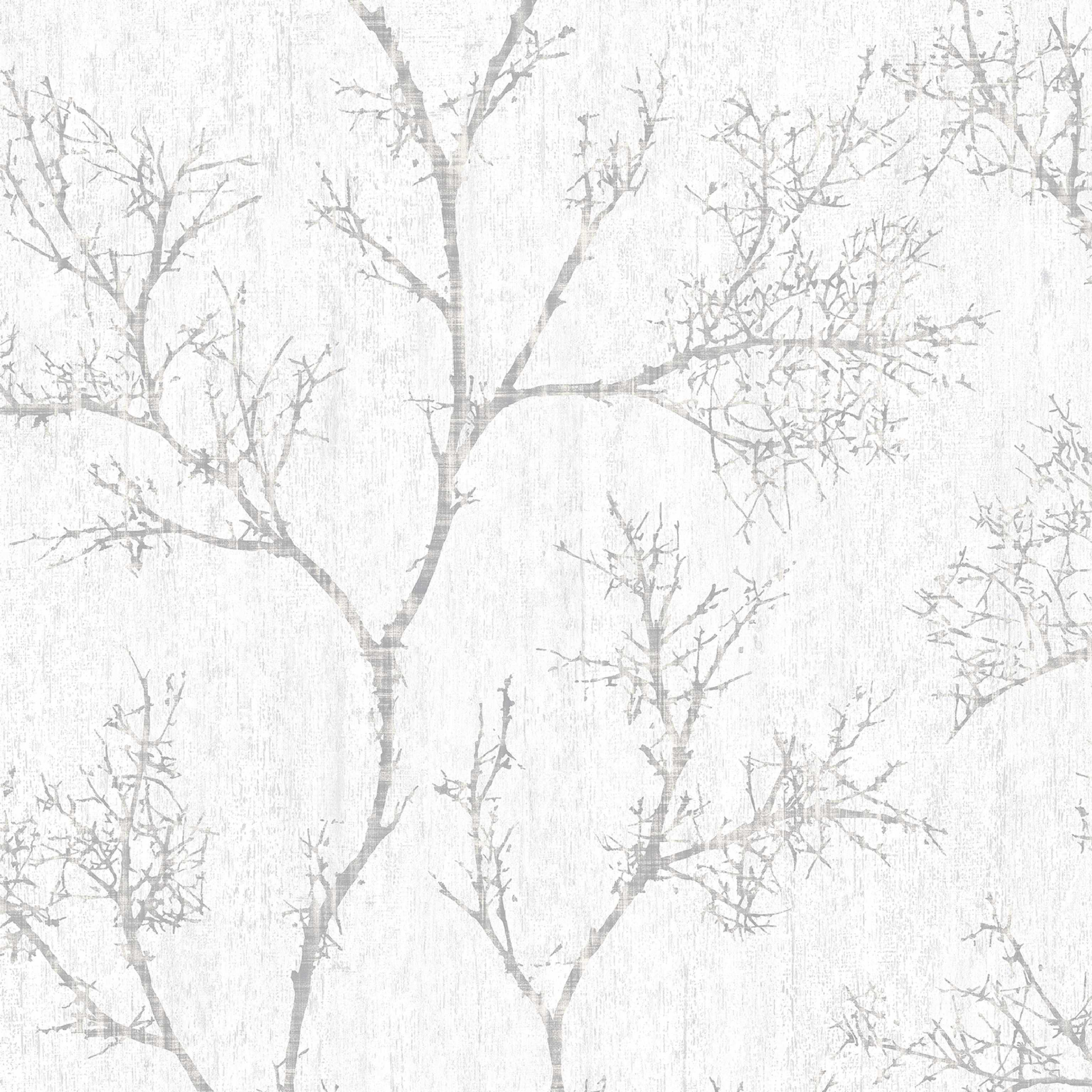 Graham & Brown Silver & White Icy Trees Wallpaper