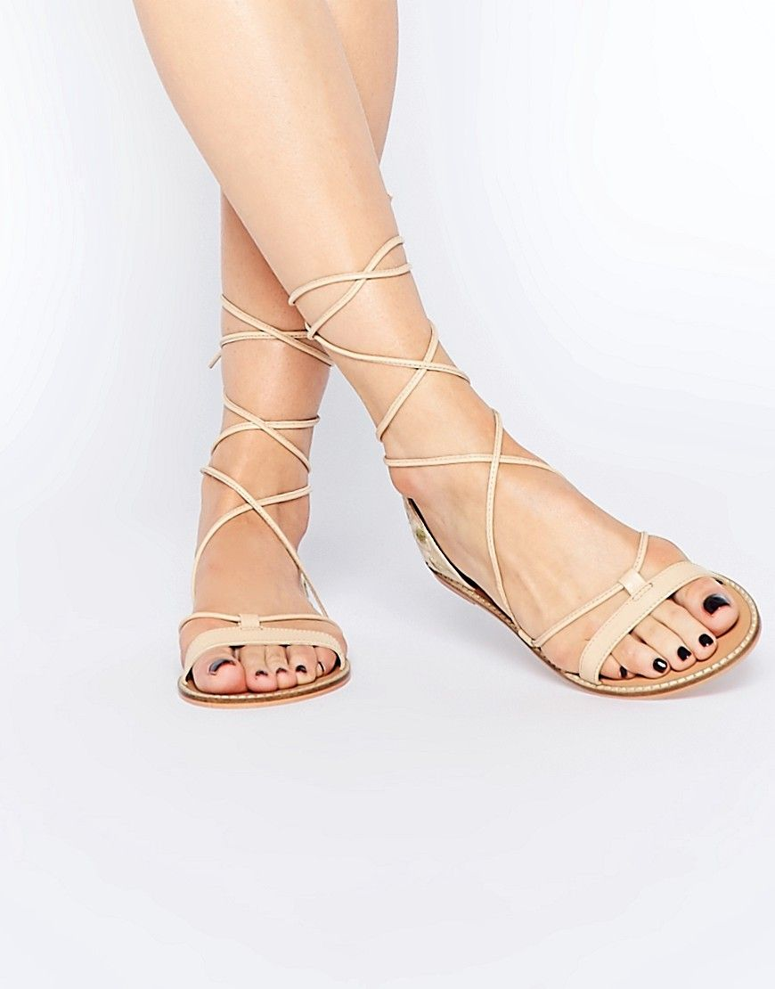 Sandals By Asos Collection Smooth Leather Look Upper
