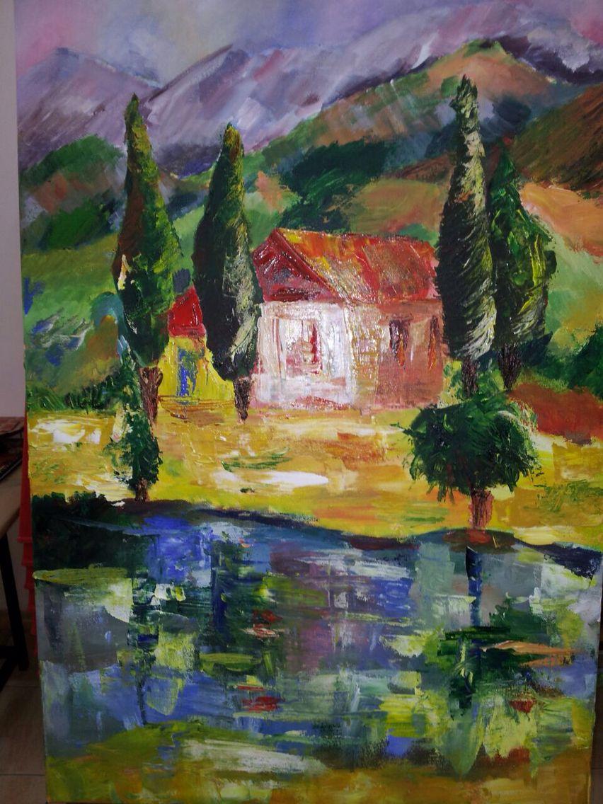 Maison oubliée #acrylique #couteau # RCM peintre débutant