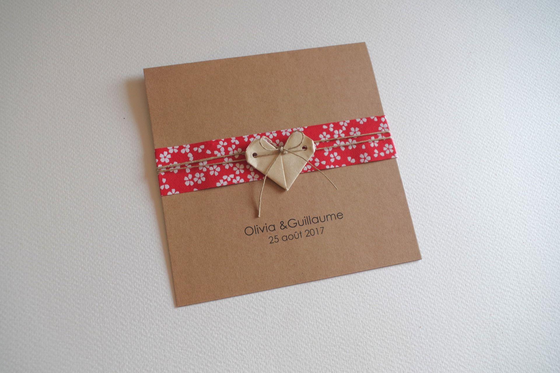 Faire part de mariage, naissance, baptême – carte double kraft, 15×15 cm coeur en origami + bandeau en papier japonais