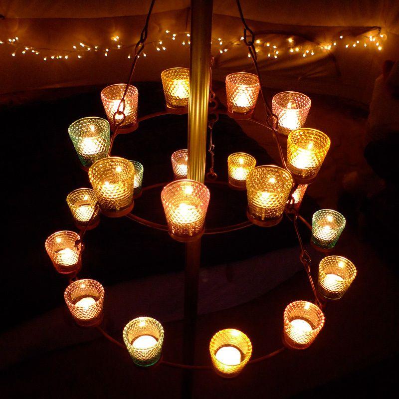 Double Multi Coloured Tea Light Chandelier Bell Tent Uk Camping With Soul Ebay Bell Tent Tea Lights Chandelier Lighting