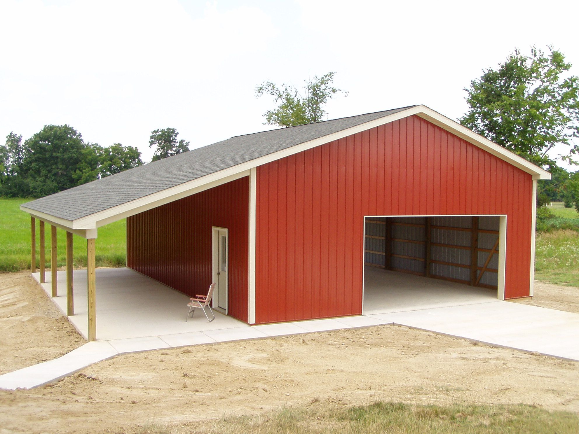 Burly oak builders 30 39 x 40 39 x 12 39 wall ht 12 39 lean to for Metal building ideas