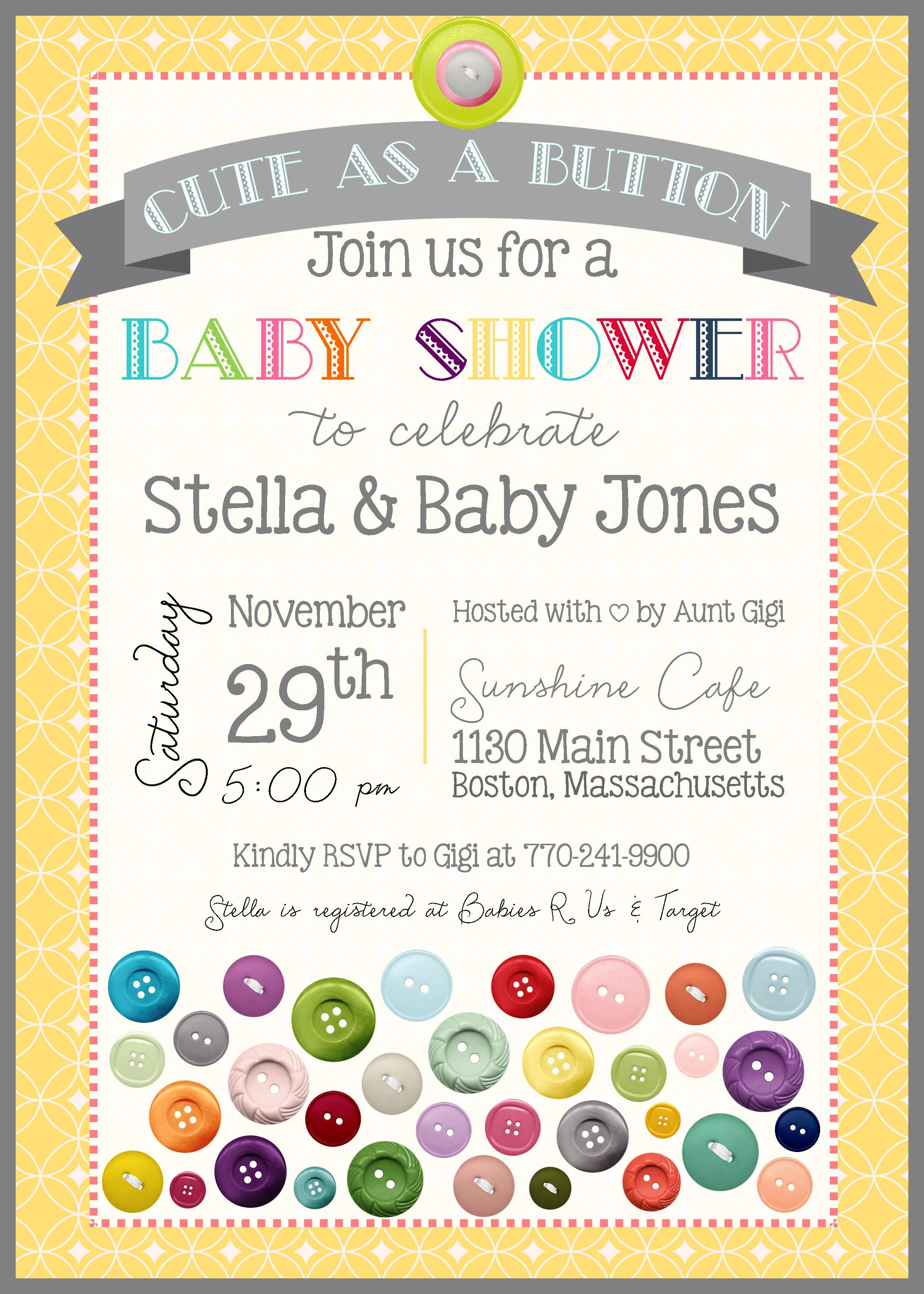 Cute as A Button - Baby Shower Invitation - Gender Neutral - Button ...