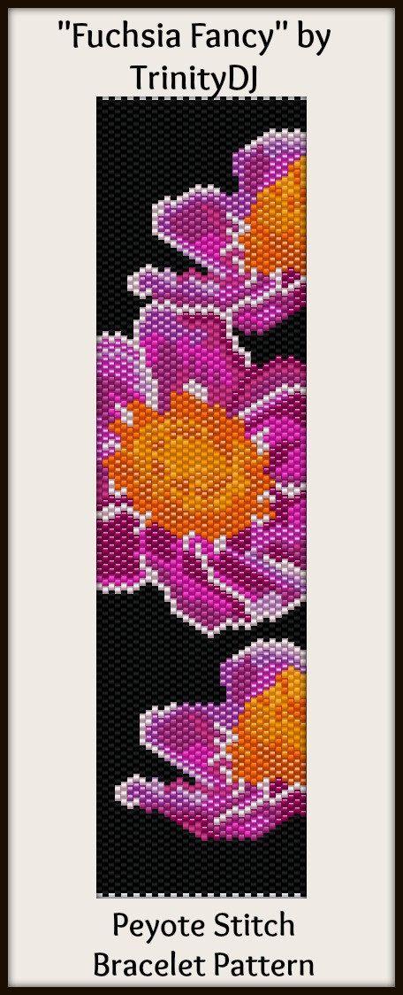 BPFLO081 Fuchsia Fancy Even Count Peyote Stitch In by TrinityDJ