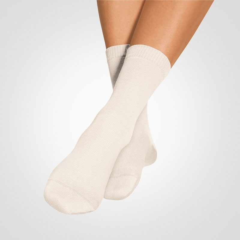 SOFT SOCKS ERGO  Special Socks - Super soft & pressure-free  • Also suitable for diabetics and people with vascular disease  • Soft waistband - no constricting rubber stocking  • No significant internal seams that can chafe  • Non-slip grip with special fabric  • Extra protection: reinforced heel and closed, hand-linked toe comfort  • High proportion of natural fibers ensures a healthy foot climate  • Right and Left sock ergonomically shaped