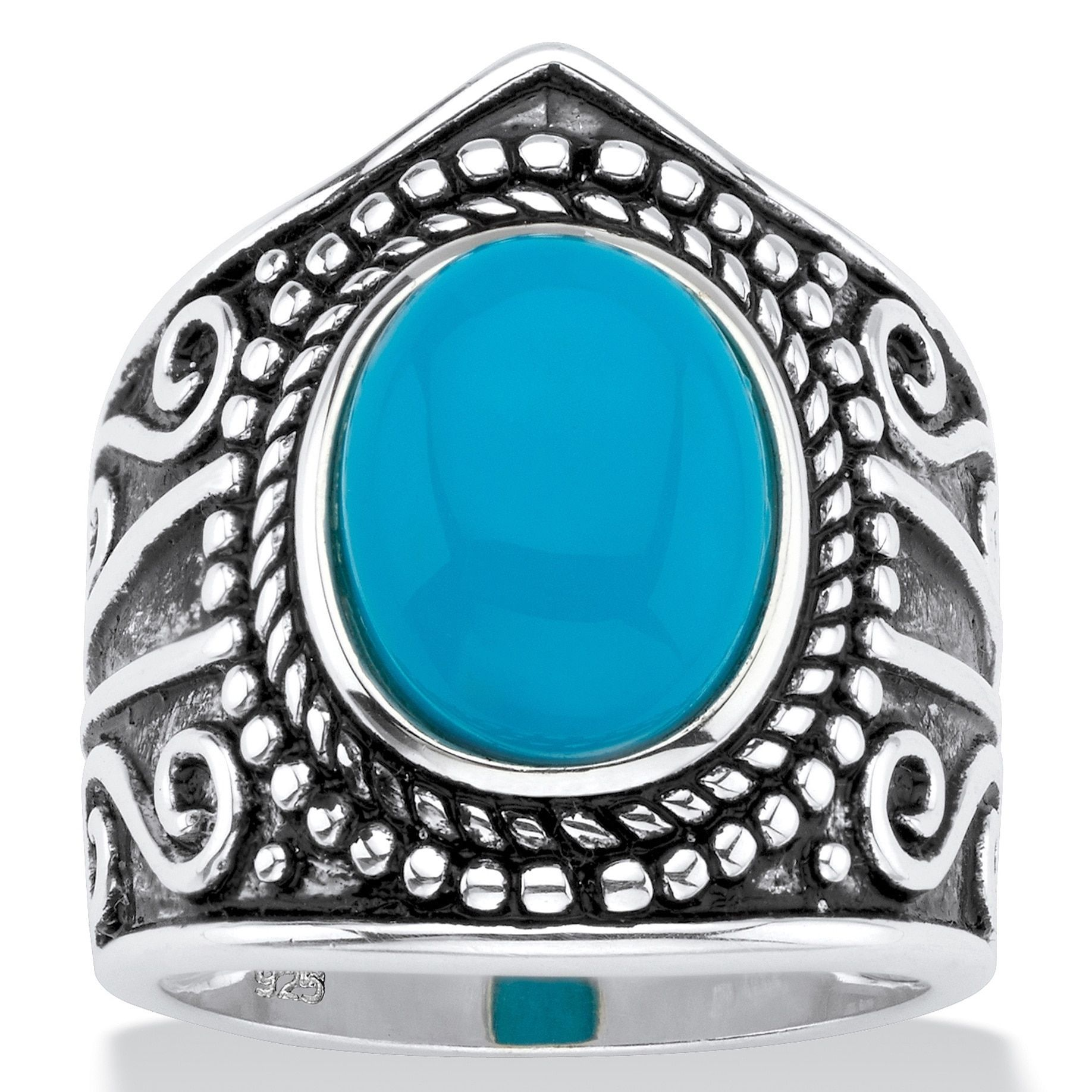 Palm Beach Jewelry Oval-Cut Simulated Blue Turquoise Cabochon Boho Beaded Cocktail Ring in Antiqued Sterling Silver Bold Fashion