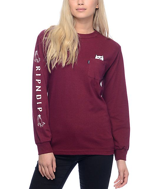 09286358ba81 Keep Lord Nermal close to you with this RipNDip long sleeve tee. The  burgundy oversized shirt with Mr. Lord Nermal himself tucked into the chest  pocket ...