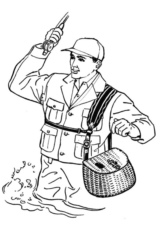 Coloring page Fisherman | COLORING - MEN | Pinterest | Free coloring ...
