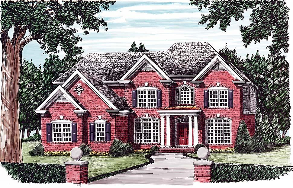 Traditional Style House Plan 83054 With 5 Bed 4 Bath 3 Car Garage Bedroom House Plans House Plans Colonial Style Homes