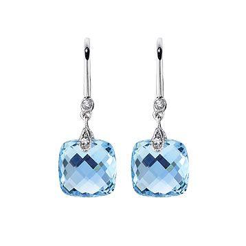 14kt White Gold Blue Topaz Drop Earrings