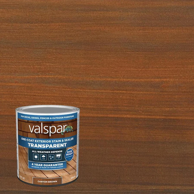 Valspar Pre Tinted Canyon Brown Transparent Exterior Stain And Sealer Quart Lowes Com In 2020 Exterior Stain Valspar Exterior Stain Colors