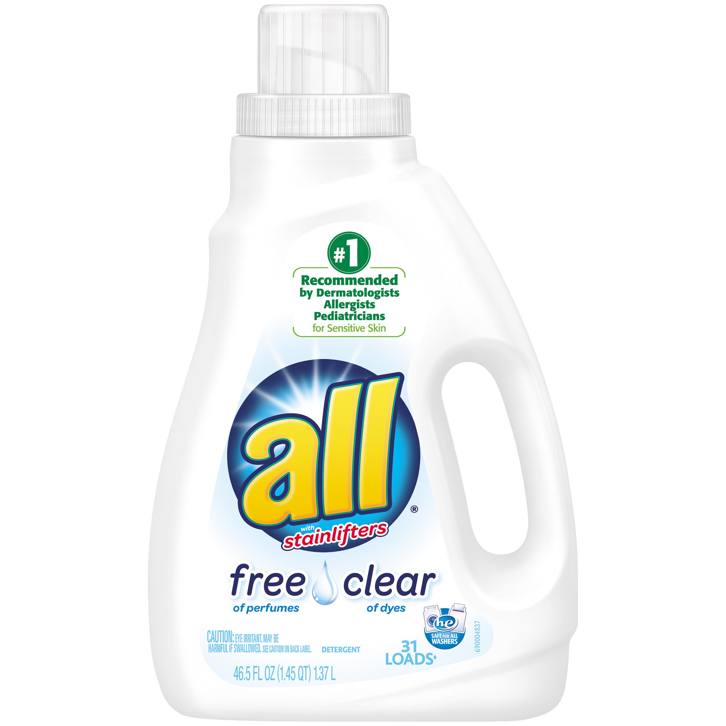 All Detergent Free Clear 46 5 Fl Oz 1 45 Qt 1 37 Lt Add All