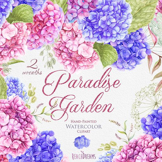 Mariage Aquarelle Couronnes Fleurs D Hortensia Par Reachdreams