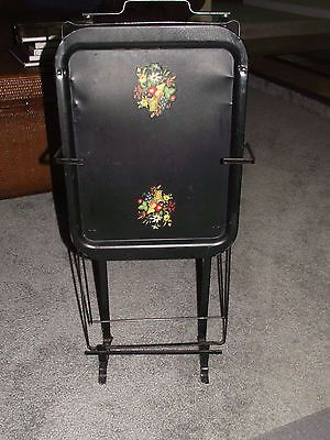Vintage Mid Century Folding Metal Tv Dinner Snack Tray Tables Black With  Decal