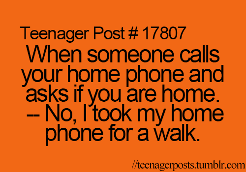 when someone calls your home phone and asks if you are home. - no i took my home phone for a walk