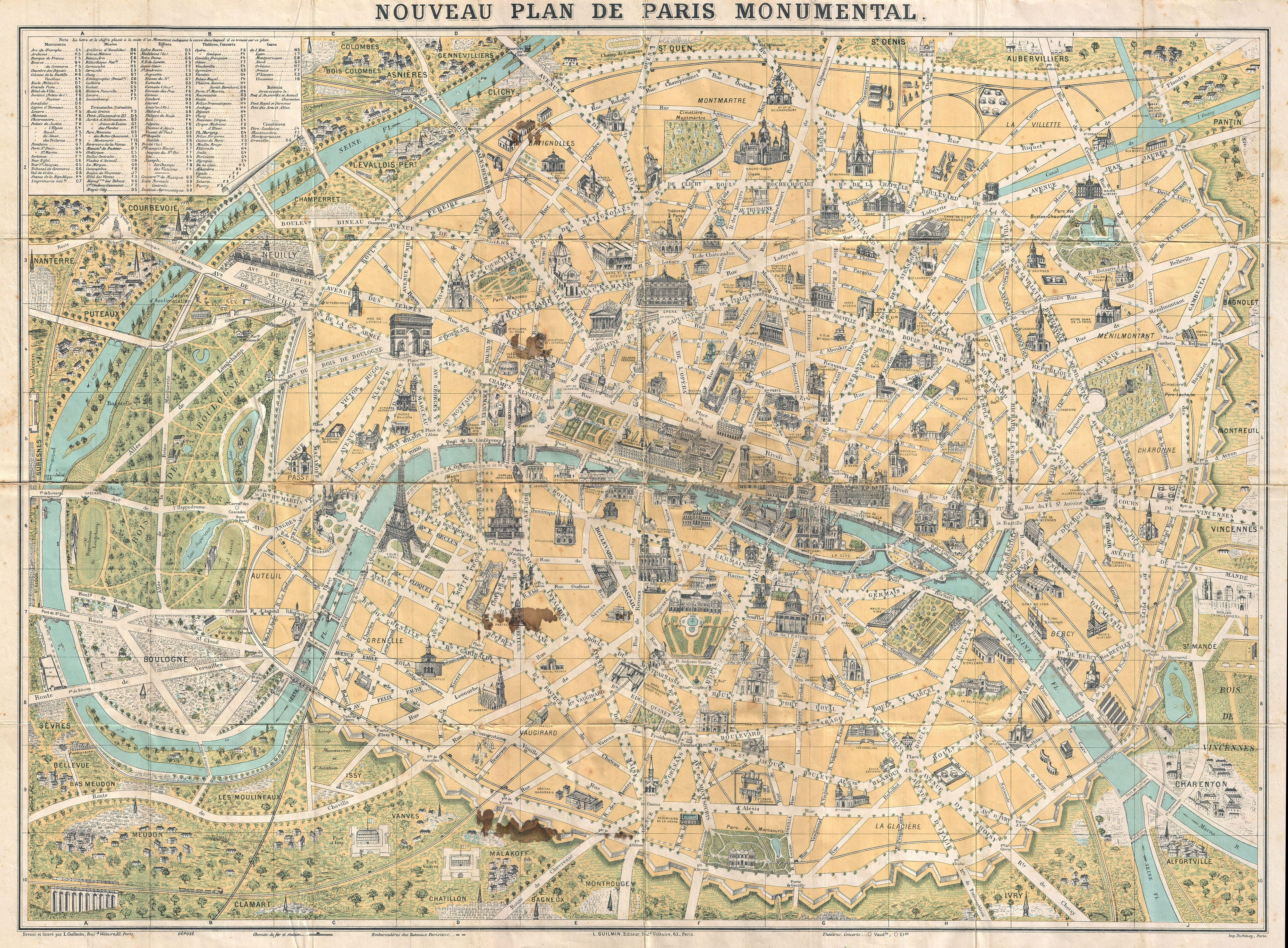 Street Maps of Paris France – Map of Paris with Monuments