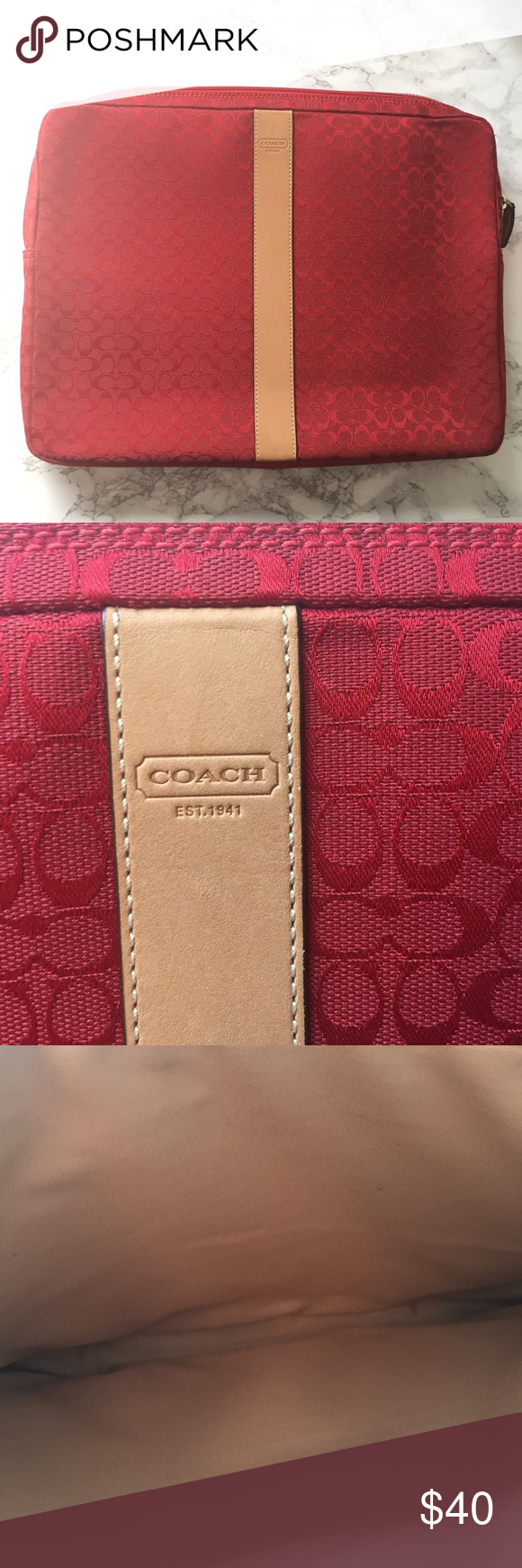 NWOT Coach Red and Tan 15 inch Laptop Sleeve NWOT Coach red and tan leather accents 15 inch laptop sleeve with tan interior. 100% authentic Coach Accessories Laptop Cases