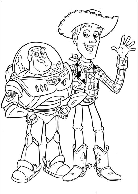 Buzz Lightyear And Sheriff Woody Greet  Toy story Coloring Pages