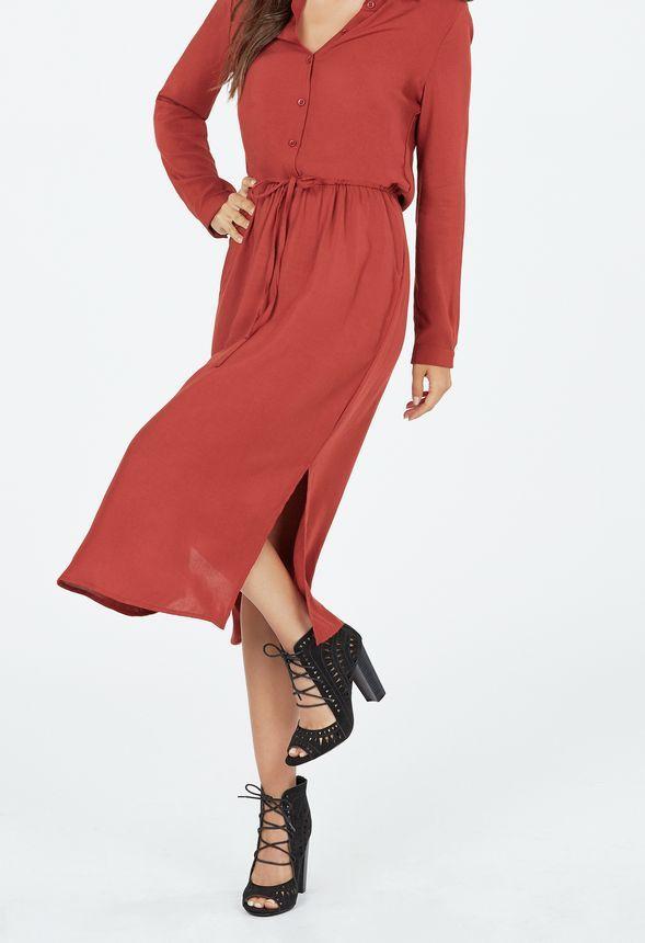 midi shirt dress kleidung in cinnamon  günstig kaufen bei