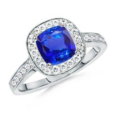 Angara Cushion Tanzanite Solitaire Vintage Ring in Platinum yOBGERTCMZ
