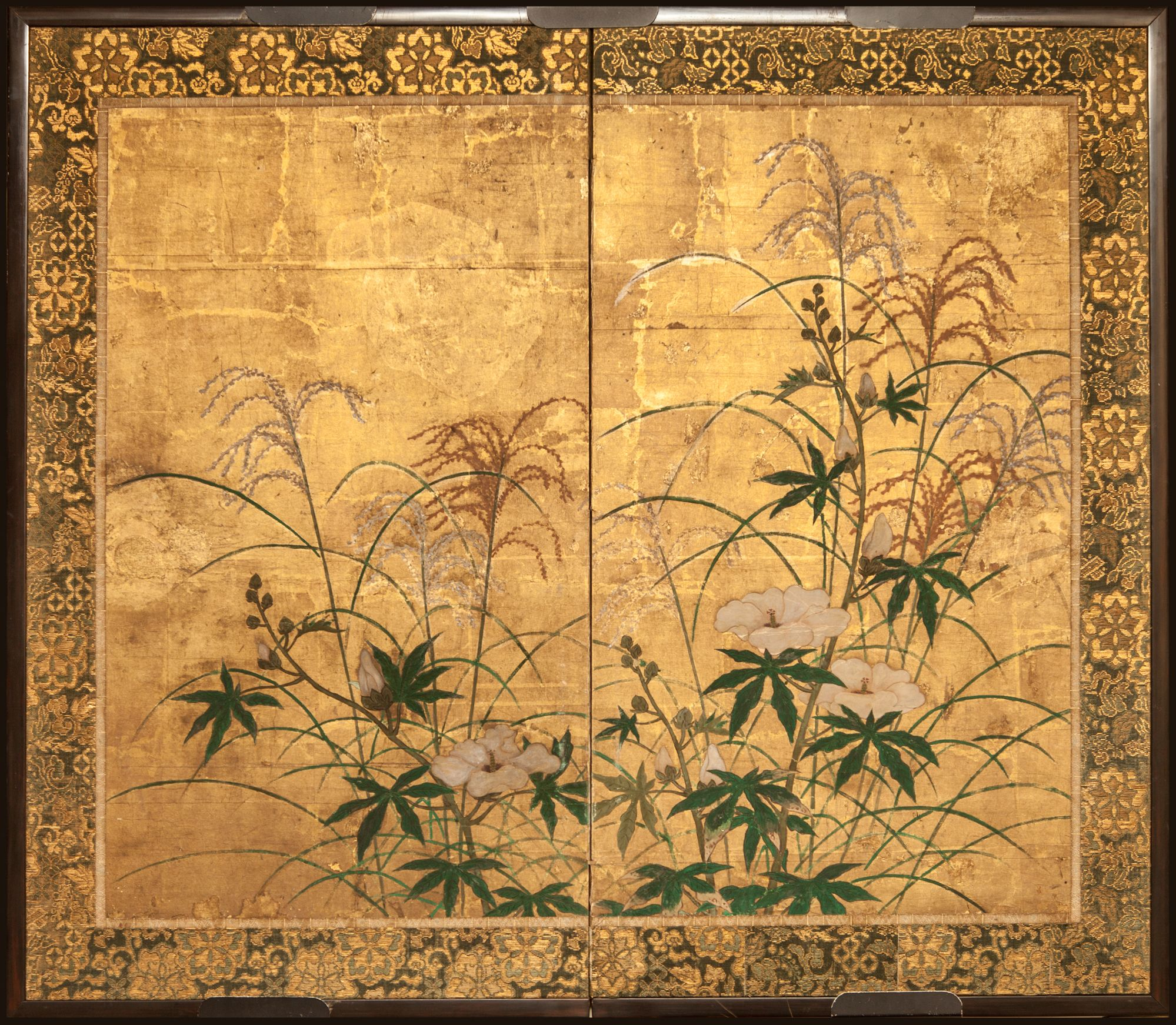 Japanese Screen Flowers And Grasses On Gold, 18Th Century