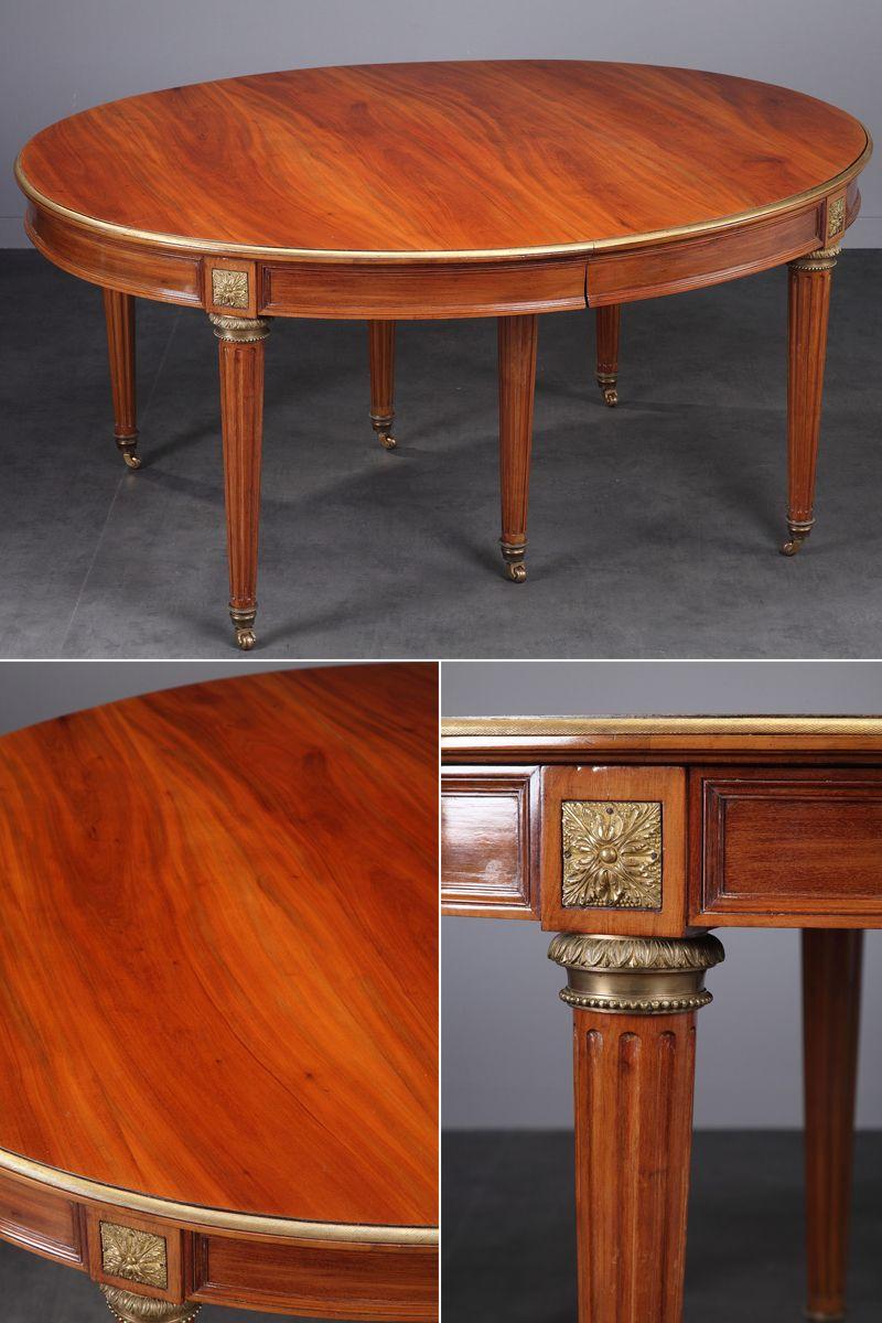 Table de salle à manger en acajou et bronze doré de style Louis XVI ...