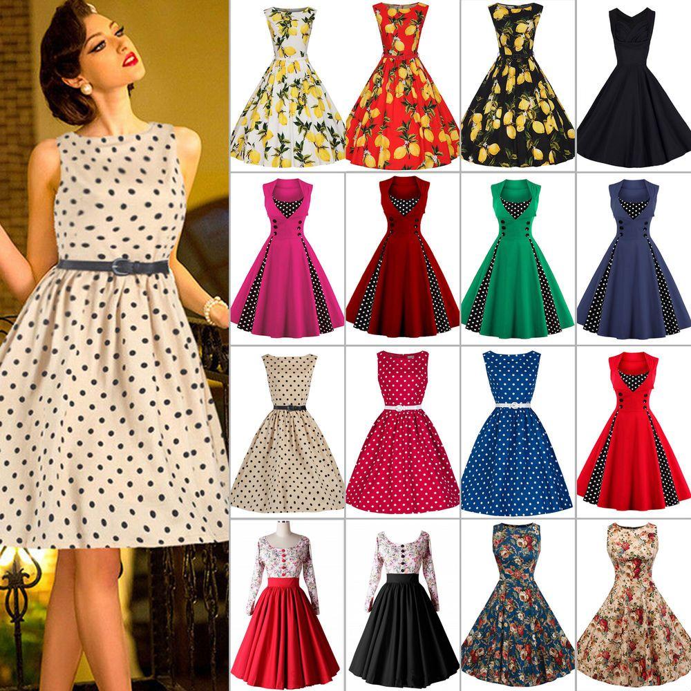 Details zu Damen Vintage Rockabilly 50er Tanzkleid Petticoat Swing ...