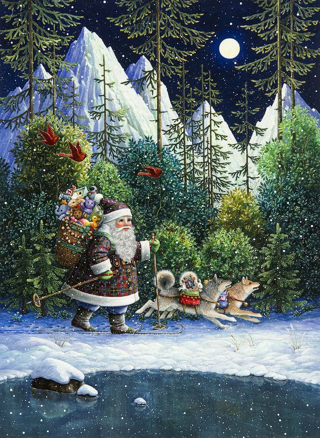 Cross-country Santa   Painting by Lynn Bywaters
