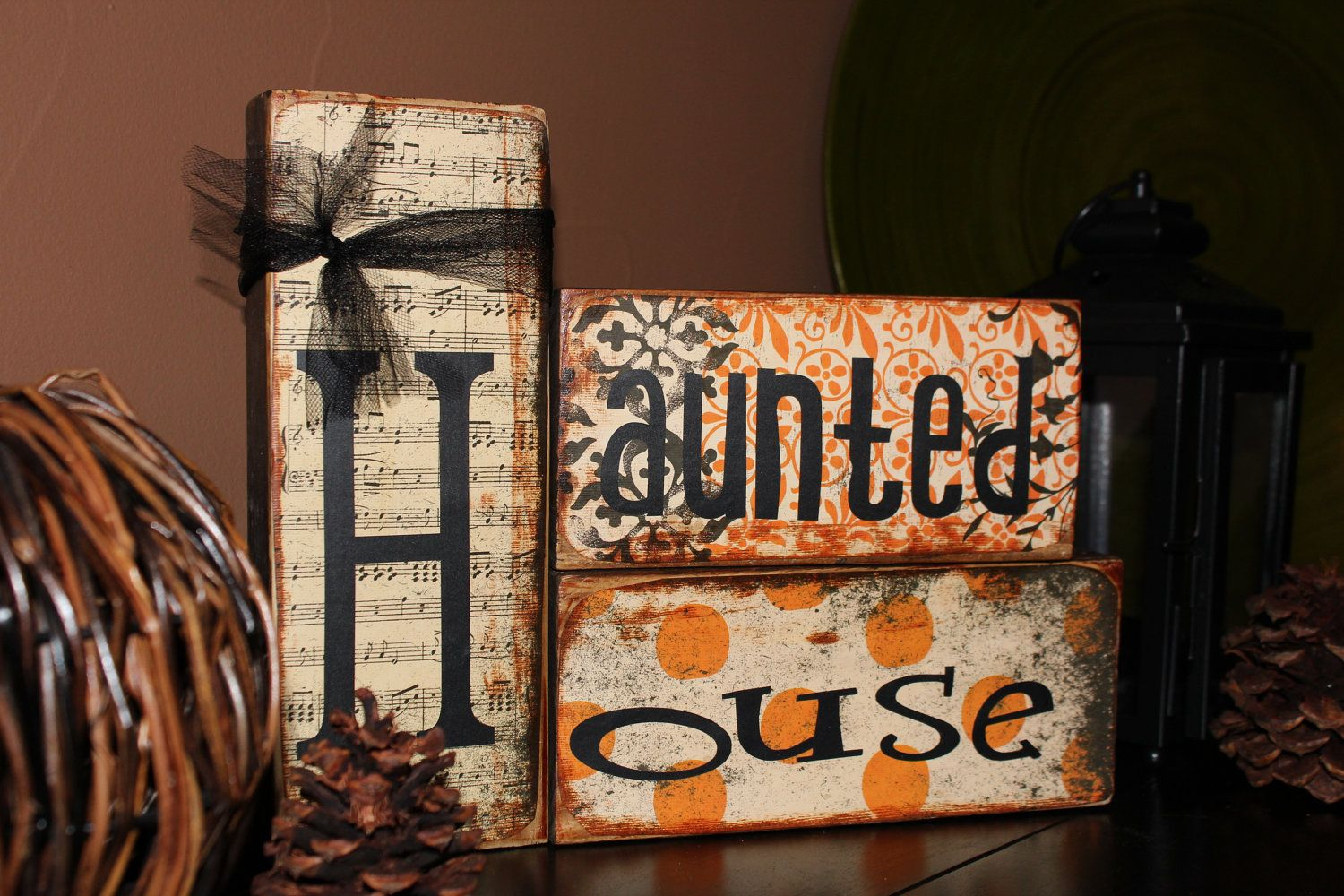 HAUNTED HOUSE Fall Halloween Home Decor Wooden Blocks $1500, via - fall and halloween decorations