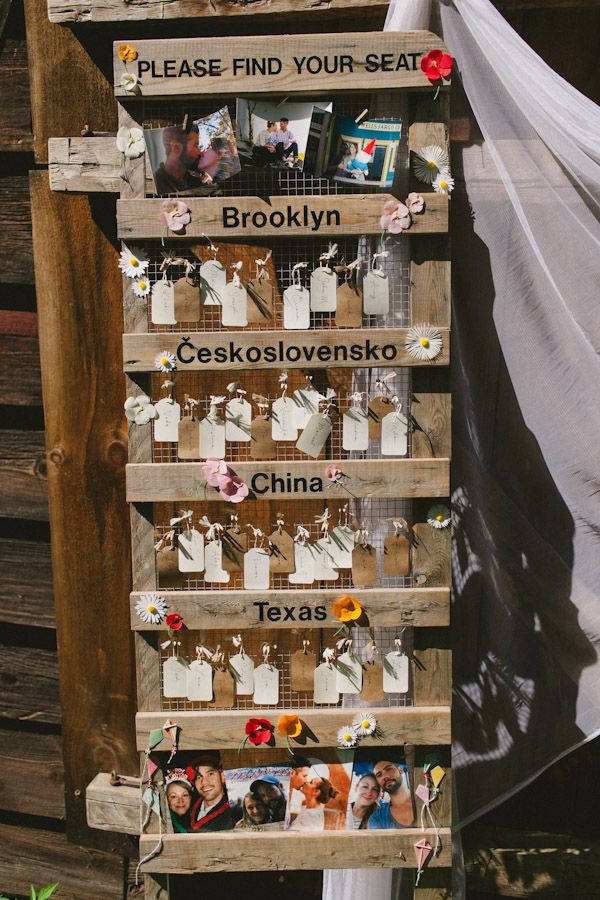 Travel themed escort cards with a personal touch. Photographer: Casey Fatchett