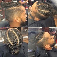 undercut braided man,bun from