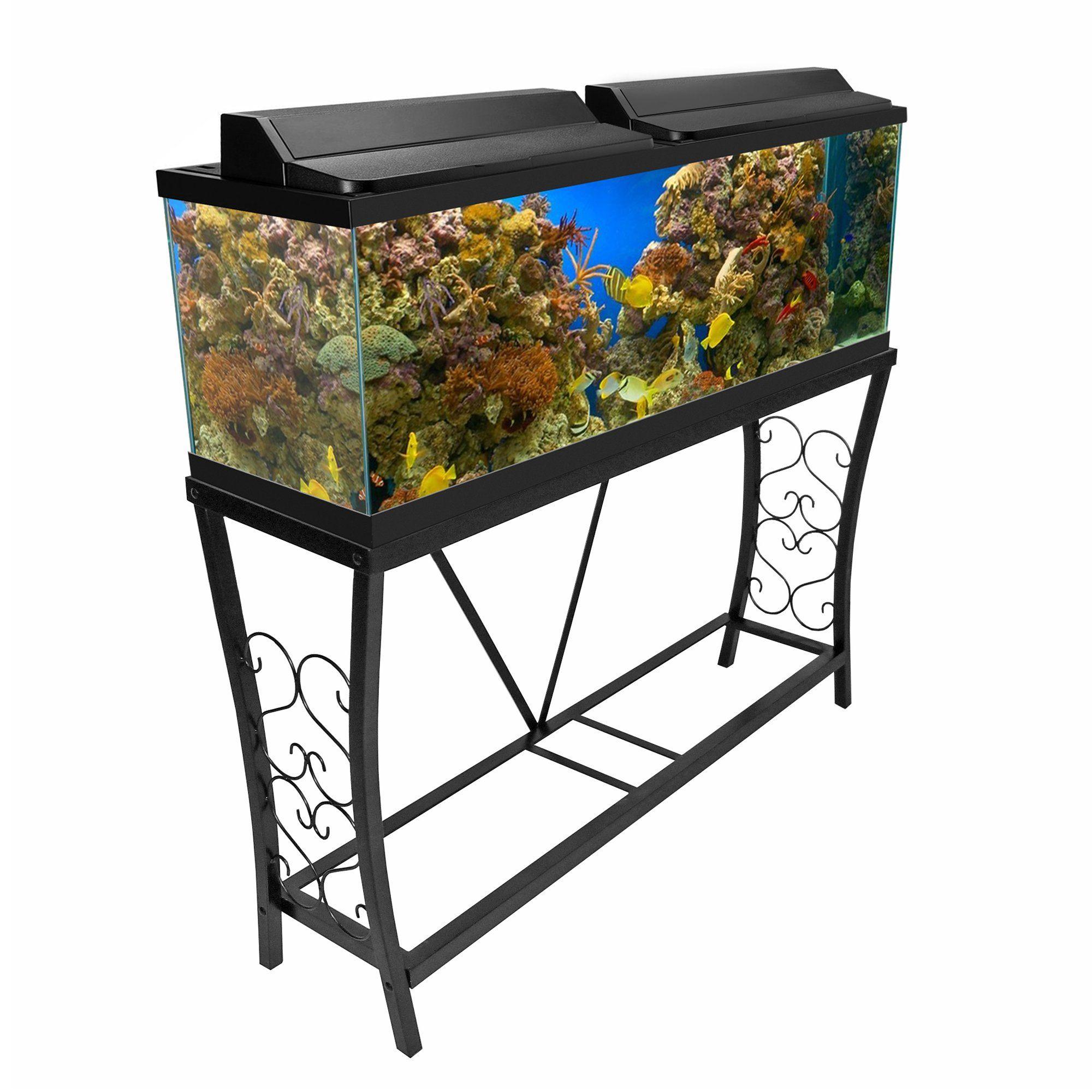 Aquatic Fundamentals Black Scroll Aquarium Stand 55 Gallons