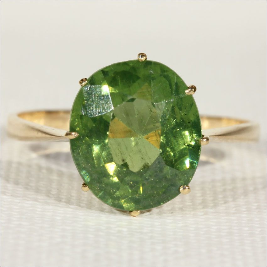 Vintage 50s Peridot Cocktail Ring, 18k Gold
