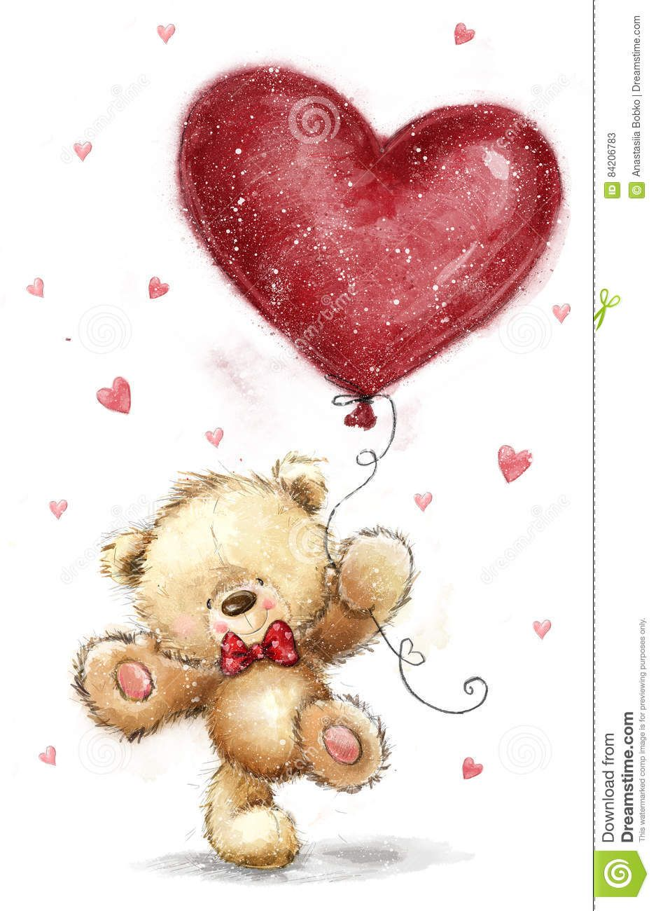Cute Bear With Big Red Heart Love Design Valentines Day Postcard Download From Over 67 Millio Valentines Day Drawing Teddy Bear Drawing Teddy Bear Pictures