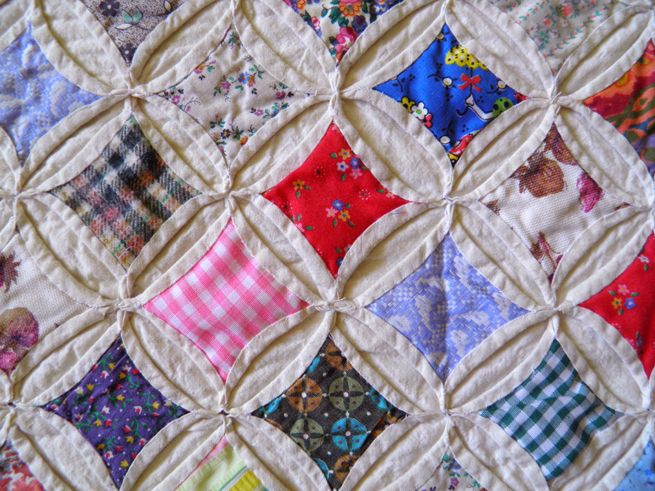 """Cathedral Window quilt, pieced and hand quilted by Ruth """"Granny"""" Warnholz"""