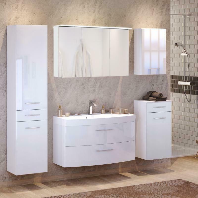 Komplett Badezimmermobel Set In Hochglanz Waschtisch Led Spiegelschrank Badmobel Ebay In 2020 Spiegelschrank Badezimmermobel Set Waschtisch