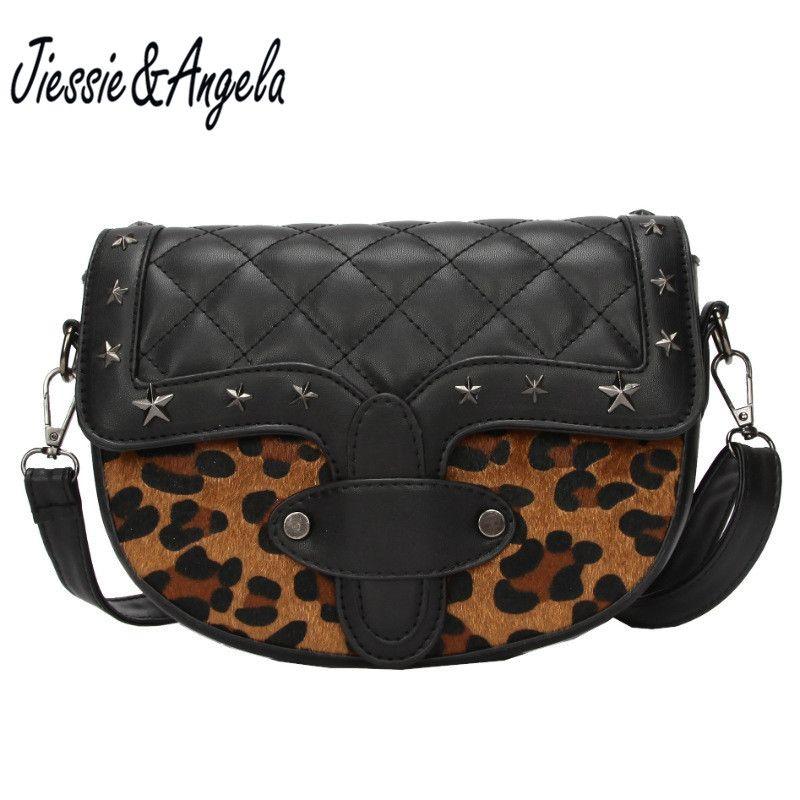 adb7837a7763 Jiessie&Angela Women Leopard Bag Leather Handbags Cross Body ...
