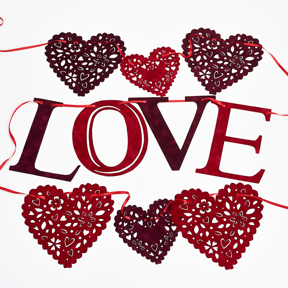 Flocked red and burgundy love wedding and valentines bunting | My ...