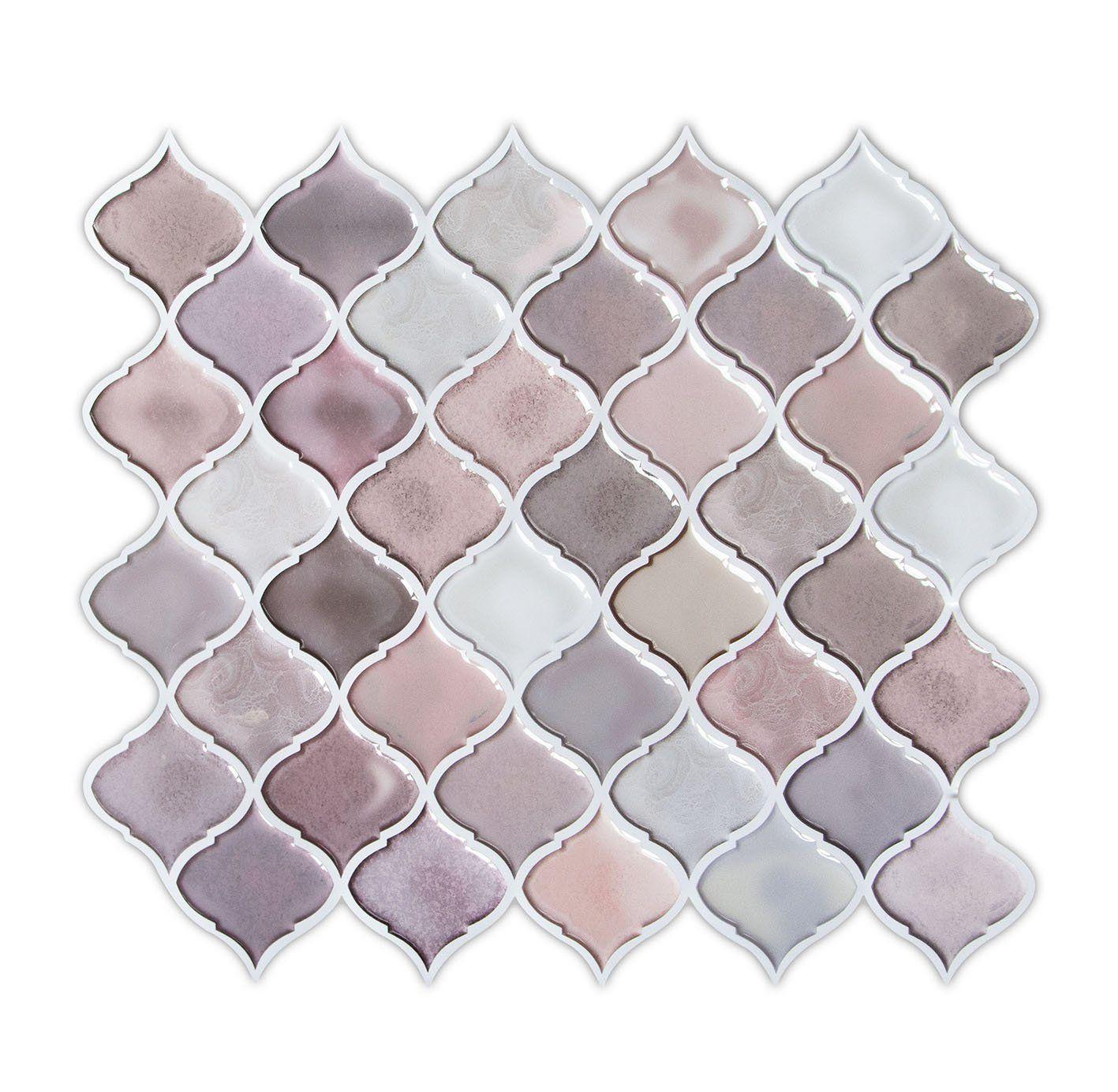 Amazon Com Hue Decoration Arabesque Peel And Stick Tile Backsplash
