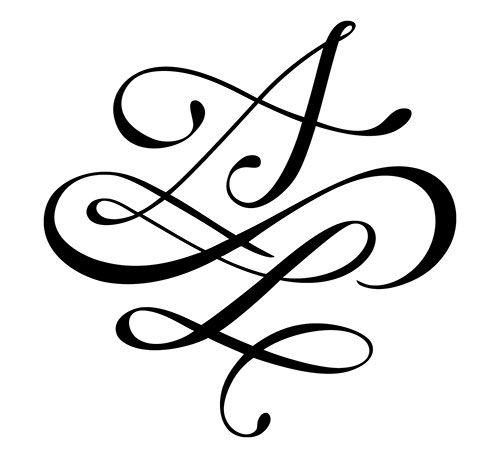 deux lettres avec arabesques et signe infini dessin de. Black Bedroom Furniture Sets. Home Design Ideas