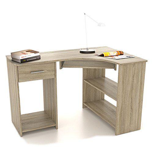 Schreibtisch Eckschreibtisch Pc Tisch Silvia In Sonoma Eiche Mit Tastaturauszug Und Schublade 117x74x78 Cm Schreibtisch Eiche Massivholztisch Haus Deko