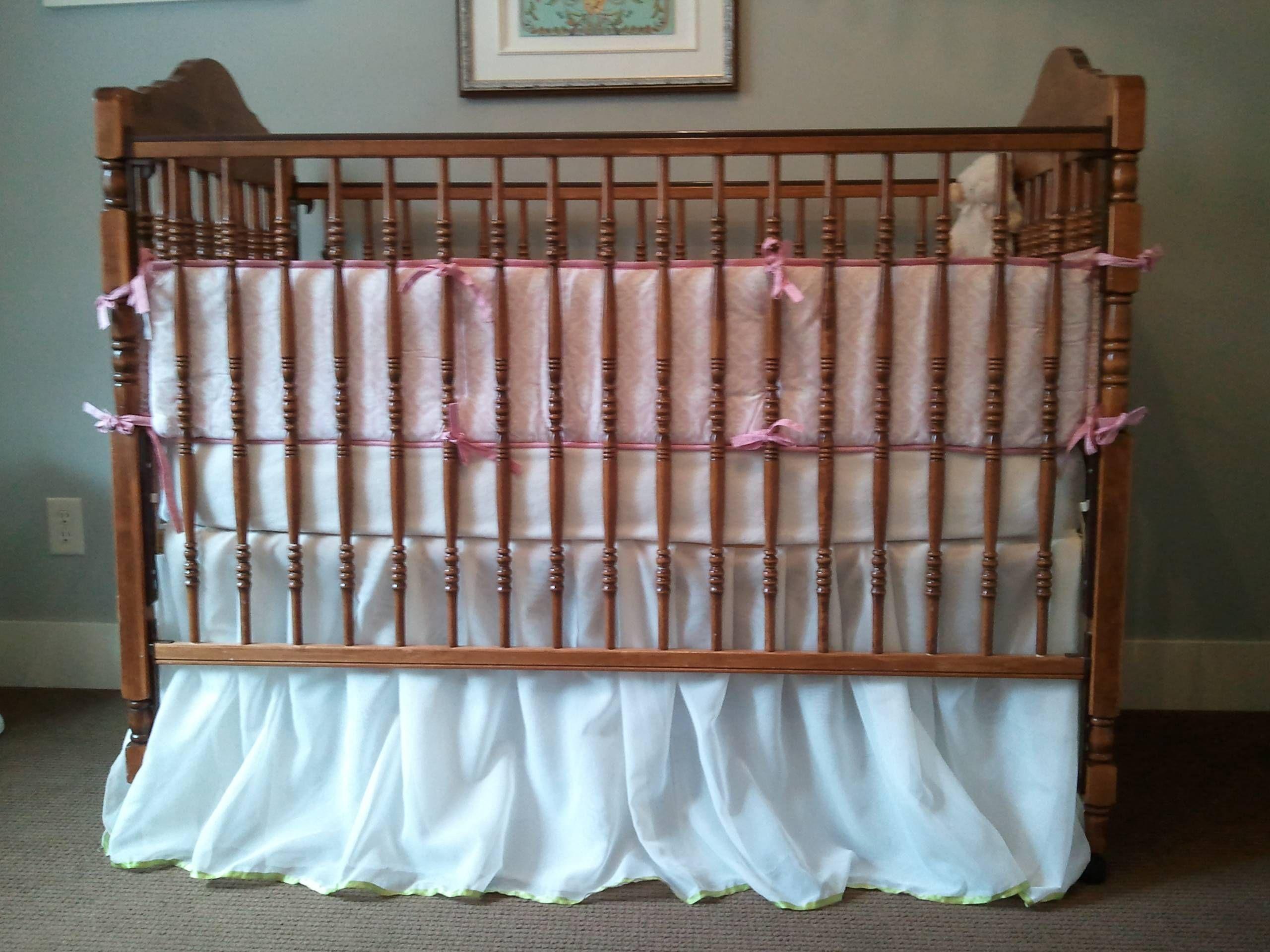 diy crib skirt made from a sheer curtain panel baby girl hammer